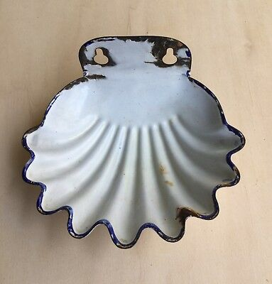 Enamel Cast Iron Soap Dish White Vintage Shell Shabby Chic French