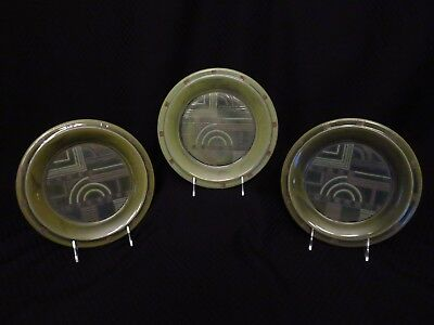 "Set of 3 PTS Interiors PRAIRIE BALSAM GREEN UNITY Art Deco Style 9"" Salad Plates"