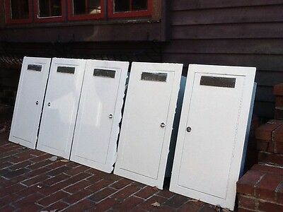 5 Vtg Wall Mount Fire Extinguisher Cabinets - Cast Metal F/E Plates -Very Good