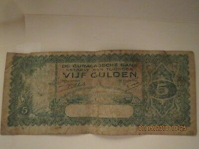 1939  Curacaosche Bank  5 Gulden Note Rare Find