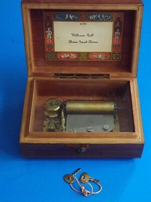 VINTAGE REUGE SWISS MUSIC BOX PLAYS, William Tell and Home Sweet Home