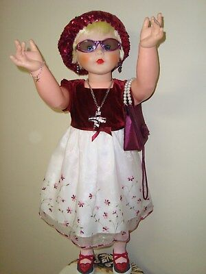 vintage life size doll, 35 inches tall, vinyl head/hands, hard plastic body
