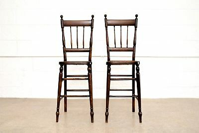 Antique Children's Chairs Victorian Cane Child Kid High Chairs Spindle Wood Pair