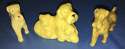 Vintage Celluloid Airedale or Other Terrier Figurines Made In Japan