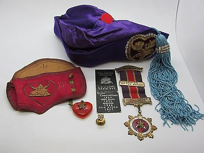 Antique Loyal Order of Moose Lot Ward Fez Amber Fob Enamel Ribbon Medal Badge