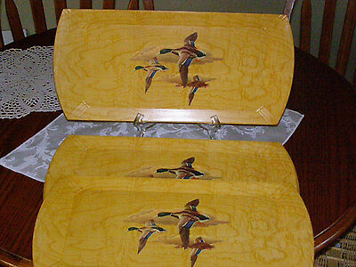 Vintage Hasko Haskelite Set of 3 Wood Serving Trays with Lithographed Flying Duc