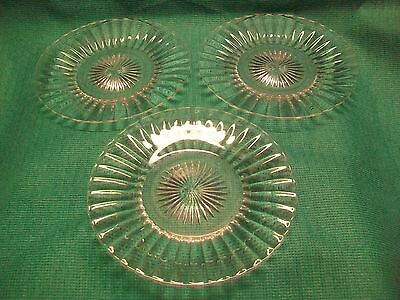 "3 Vintage Heisey Glass Plates Saucers  7.5"" Plates"