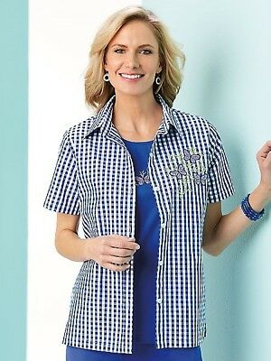 0031c7a3ac5 New Haband Womens Size 2X Blue White Check Embroidered Butterfly Twin Shirt  Set