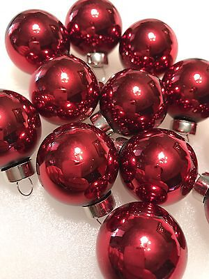 Set Of 12 High Quality Small Red Glass Christmas Ornaments