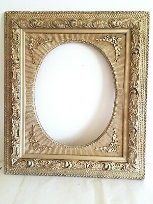 "Antique Large Gold Gilt Wood Oval Opening Picture Frame Ornate Victorian 25""×29"""