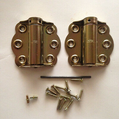 STANLEY Full Surface Brass adjustable Screen Door Spring Hinge two pack