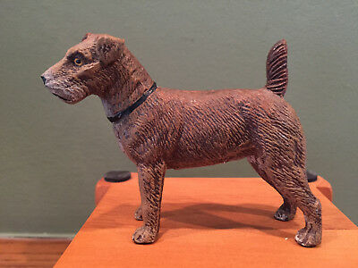 Vintage Made in Germany Wirehaired Fox Terrier Dog Metal Painted Figure