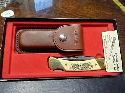"""Schrade Scrimshaw sc-507, Vintage, """"Racoons""""  NICE, has Sheath box & warr papers"""