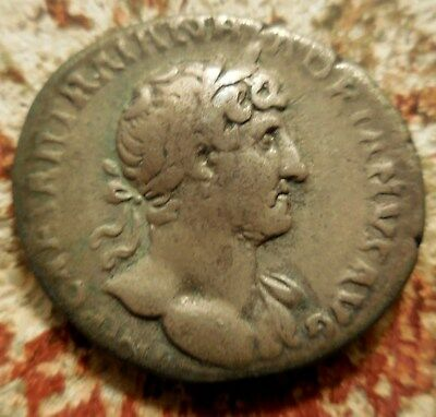 HADRIAN (117-138). Denarius Rome. Mars advancing right, holding spear and Trophy