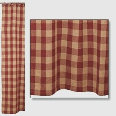 Primitive Country Rustic Barn Red & Tan Check Plaid Cotton Burlap Shower Curtain