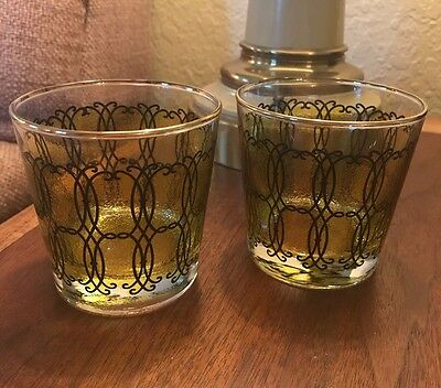 (2) Mid Century Vintage Green Old fashion Rocks Whisky Glasses - Madmen Bar ware