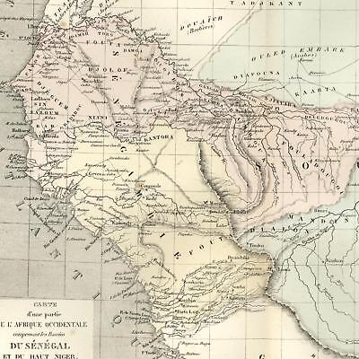 West Africa Senegal Upper Niger Mts of Kong Senegambia Sudan 1855 Dufour old map