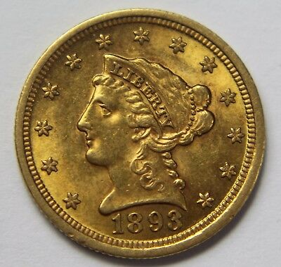 1893-P Liberty Head Gold $2.50 Quarter Eagle 22k Old US Coin NR Free Ship W062