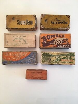 Group Lot Of 7 Vintage Fishing Lure Boxes, Bomber Pflueger South Bend & More