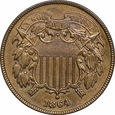 1864 P Two Cent Piece, BU Cleaned 2C Brilliant Uncirculated