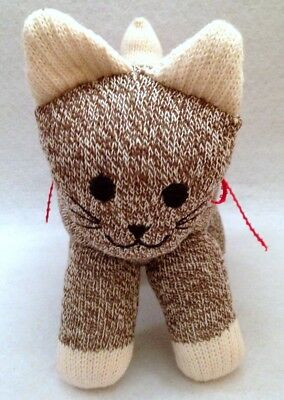 Vintage Sock Monkey Cat Stuffed Animal Toy Red Heel Butt Red Bow Ribbon Collar