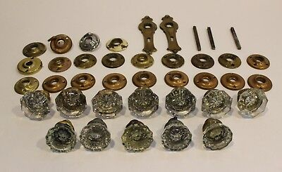 Large Lot of Antique Vintage Clear Glass Door Knobs Brass Plates Hardware