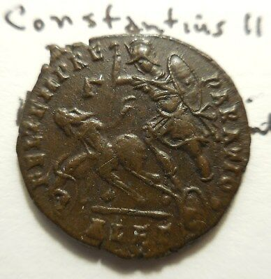 Very Fine Plus! Constantius II. Alexandria, A.D. 348-350. Gamma in left field.