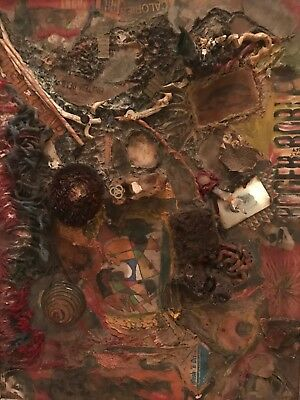 Mixed Media Painting Collage on Art Board- Outsider Art- 1964
