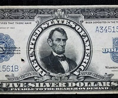 DH Fr 282 1923 $5 Silver Certificate VF Great Appeal