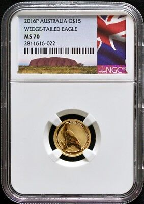 2016 P Australia Wedge Tailed Eagle $15 1/10oz Gold NGC MS70 With OGP-Excellent