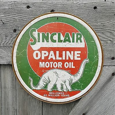 """Sinclair Dino Opaline Motor Oil 12"""" Round Embossed Tin Metal Bar Sign Wall Decor"""