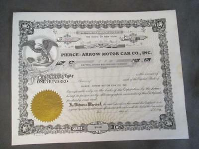 1927 PIERCE-ARROW MOTOR CAR STOCK CERTIFICATE - 100 SHARES UNISSUED ch