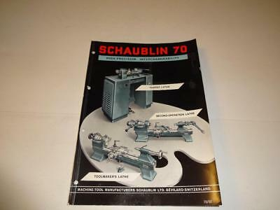 VINTAGE 1962 SWISS SCHAUBLIN PRECISION #70 CATALOG of LATHES & ACCESSOIRES