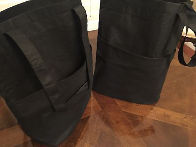 2 Shopping Bags with FRONT POCKET~Reusable Grocery Tote Bag Eco-friendly Black