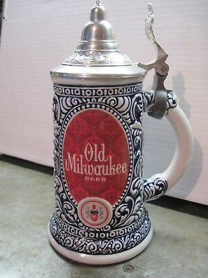 Older Harder To Find Lidded Version Old Milwaukee Colorful Stein / Mug