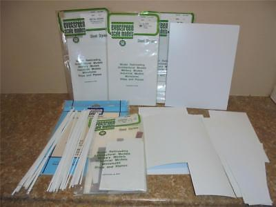 Lot Of Styrene Scraps 11 Sheets Of 8.5 X 11 X.020 White + Rods,metal Siding