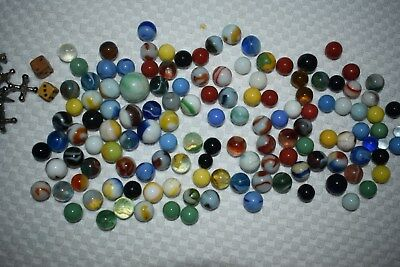Vintage Antique Marbles ESTATE OLD Lot of 100+ Mixed lot as found 1950s bubbles