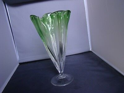 Steuben Clear to Green Grotesque 12 inch Vase