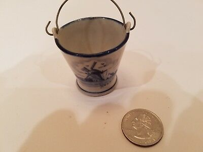 Vintage Delft Blue and White Miniature Bucket Holland Delftware