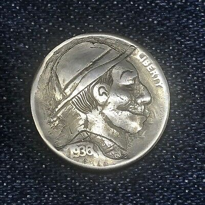 "1936 Hand Carved Original Hobo Nickel OOAK! ""Uncle Sly"""