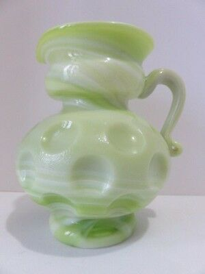 Kanawha Slag Glass Green White Marbled Inverted Dot Small Pitcher Syrup Creamer