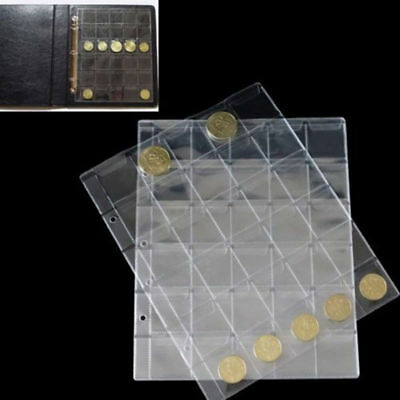 30 Pockets Classic Coin Holders Pages Sheets for Storage Collection Album Clear