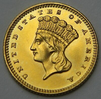 1868-P Indian Princess Head Gold Dollar $1 Proof ? PF PL 22k Old US Coin W037
