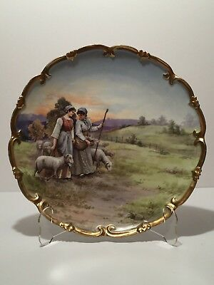 """Vntg 11.5"""" Artist Signed Imperial Crown China Austria Hand Painted Cabinet Plate"""