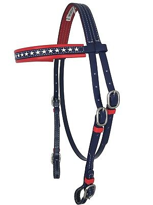 PVC Horse Bridle - Navy & Red with Stars