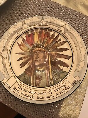 Vintage Antique Royal Doulton Hiawatha Native American Cheif Plate