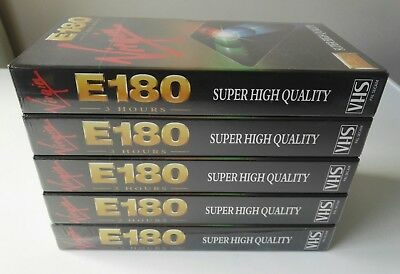5 NEW SEALED RARE VIRGIN E180 180 min 3 hour super high quality VHS video tapes
