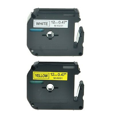 2PK MK231 MK631 Black on White/Yellow Label Tape for Brother P-Touch PT-55S 1/2""