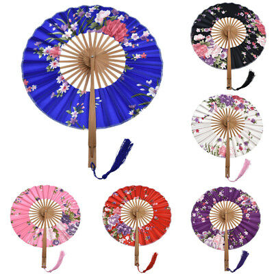 Japanese Fabric Floral Round Folding Windmill Hand Fan Wedding Party Supplies