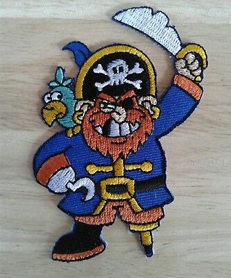 Pirate with parrot Cartoon Embroidered Applique Sew Iron on Patch Free Shipping